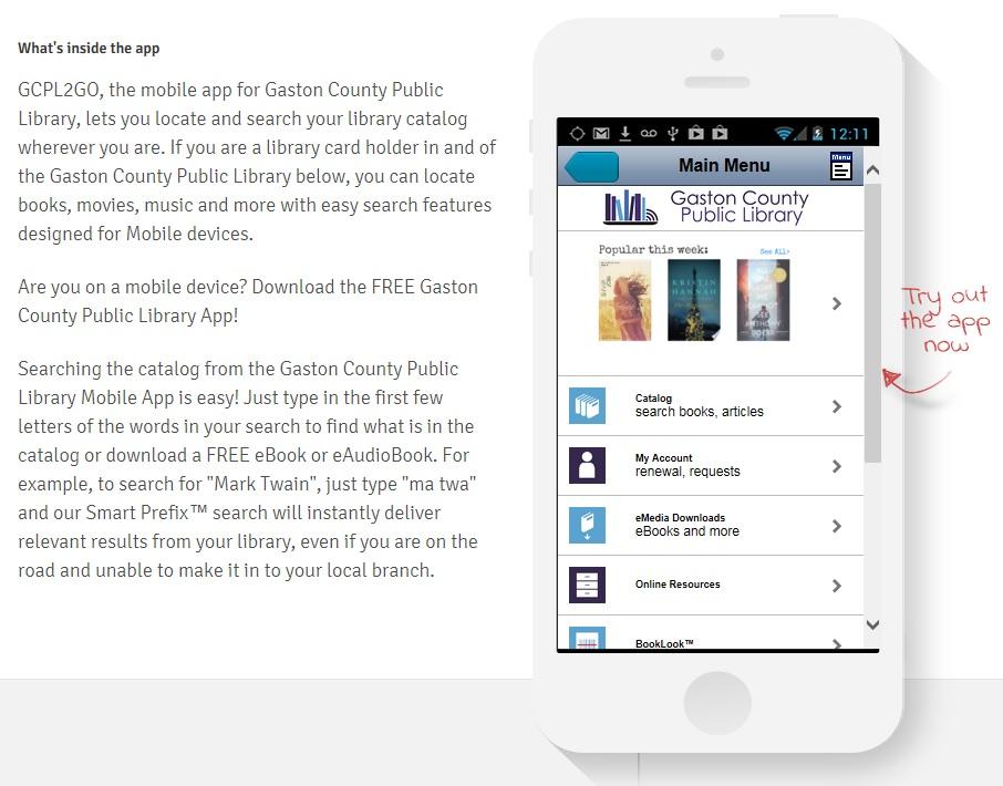 Library Mobile App (GCPL2GO) - Gaston County Public Library